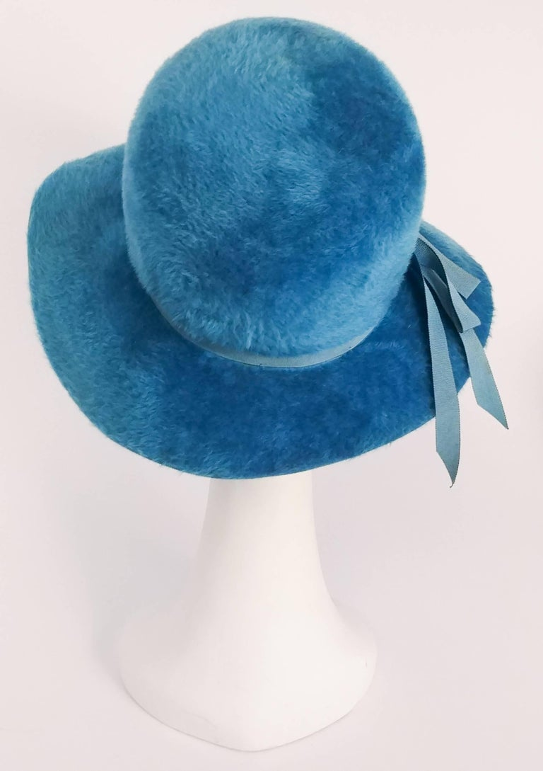 1960s Cerulean Blue Felt Wide Brim Floppy Hat 3