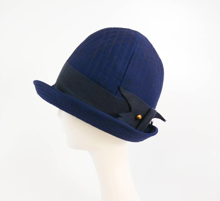 Gray 1960s Adolfo II Quilted Navy Cloche Hat For Sale