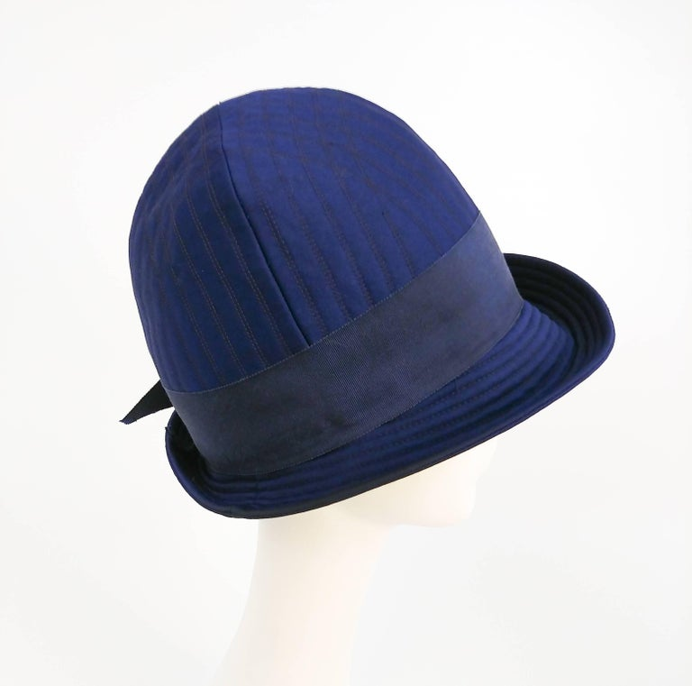 Women's 1960s Adolfo II Quilted Navy Cloche Hat For Sale