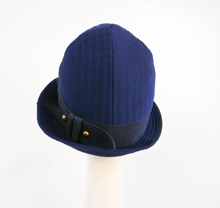1960s Adolfo II Quilted Navy Cloche Hat In Good Condition For Sale In San Francisco, CA
