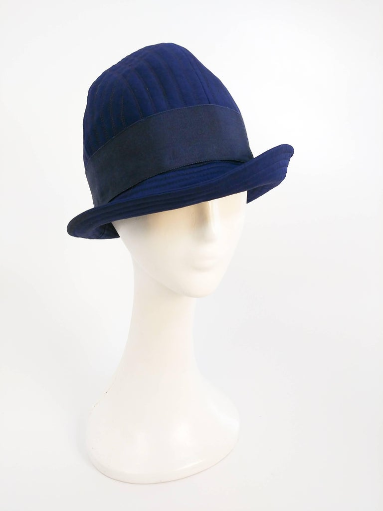 1960s Adolfo II Quilted Navy Cloche Hat For Sale 1