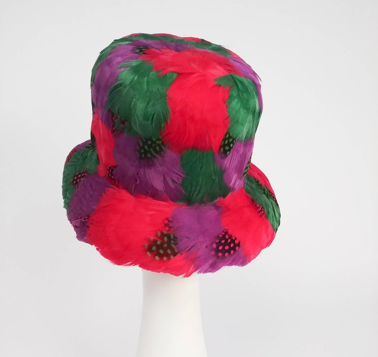 1980s Bright Feather Hat In Excellent Condition For Sale In San Francisco, CA