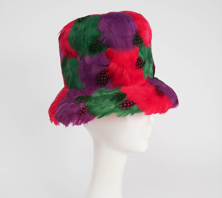 1980s Bright Feather Hat.
