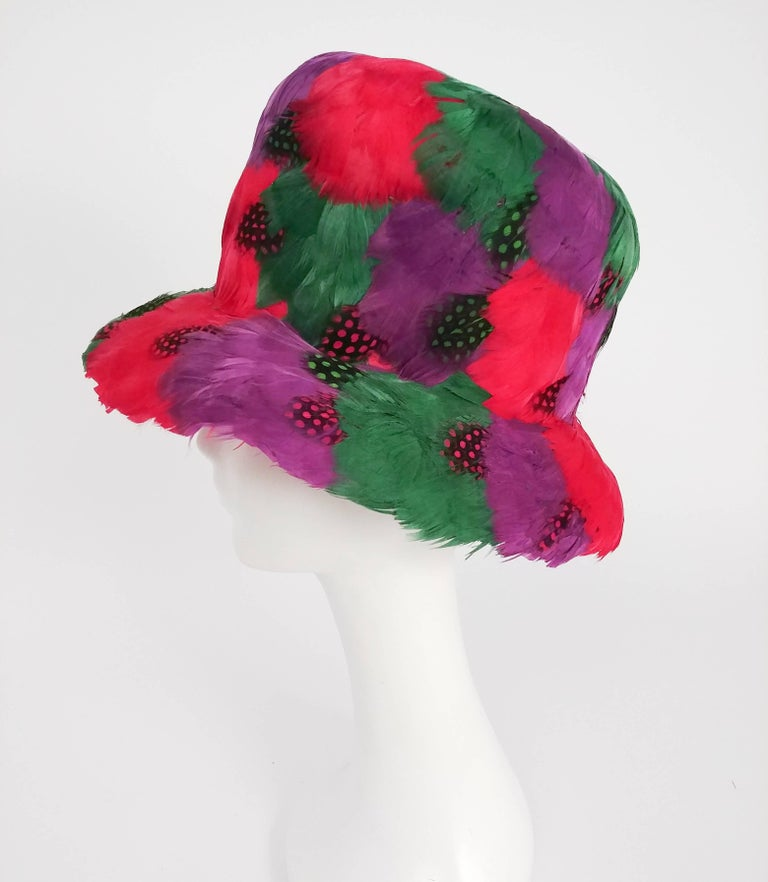 Red 1980s Bright Feather Hat For Sale