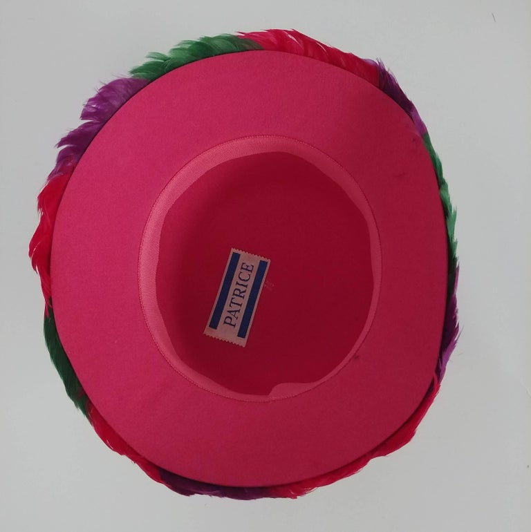 Women's 1980s Bright Feather Hat For Sale