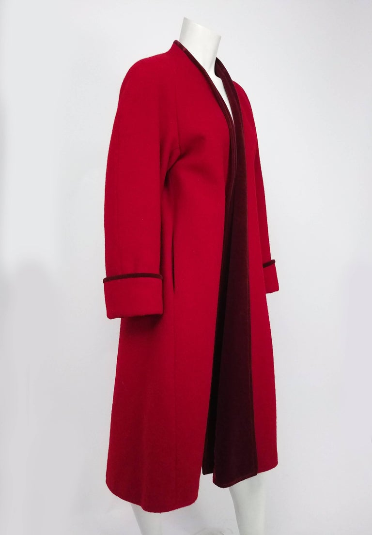 1980s Kenzo Red Wool Coat w/ Velveteen Lapels. No closures, turned up sleeves with matching trim.