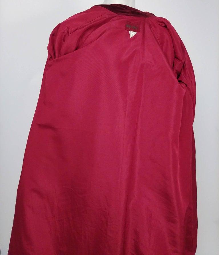 Women's 1980s Kenzo Red Wool Coat w/ Velveteen Lapels For Sale