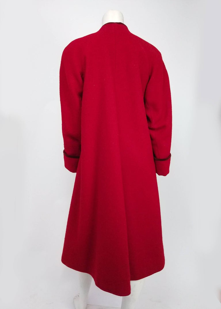 1980s Kenzo Red Wool Coat w/ Velveteen Lapels In Excellent Condition For Sale In San Francisco, CA