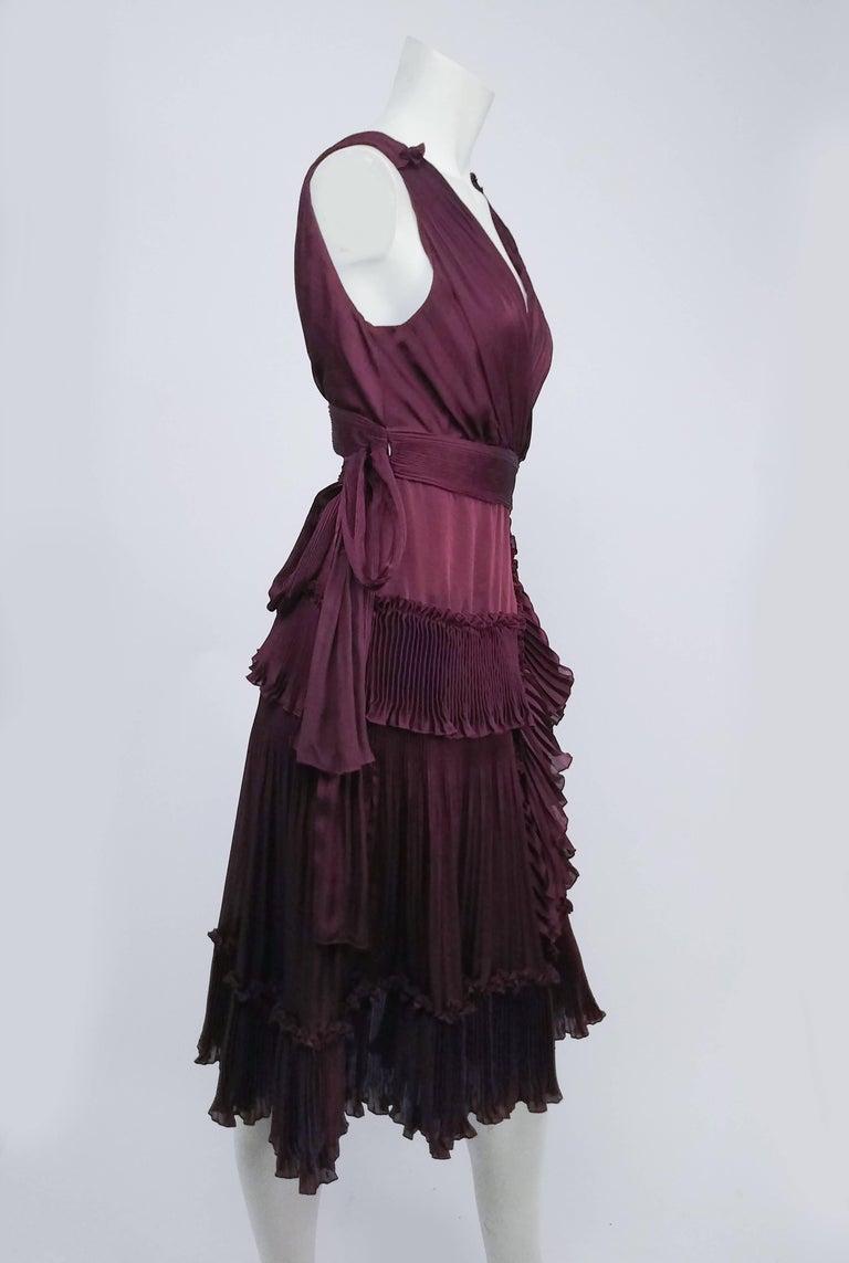 Diane Von Furstenberg Purple Pleated Ruffle Wrap Dress At