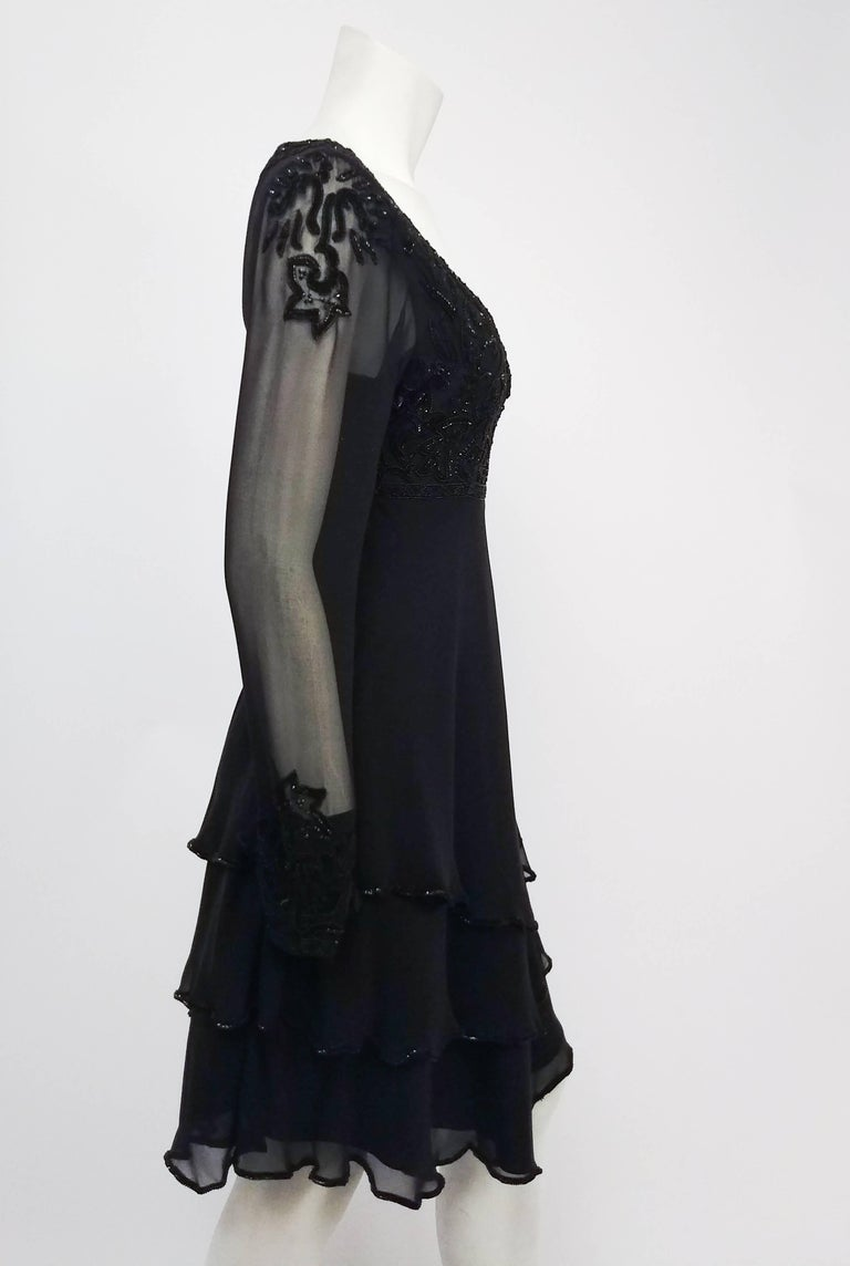 1960s Lillie Rubin Black Silk Chiffon Beaded Cocktail Dress In Excellent Condition For Sale In San Francisco, CA