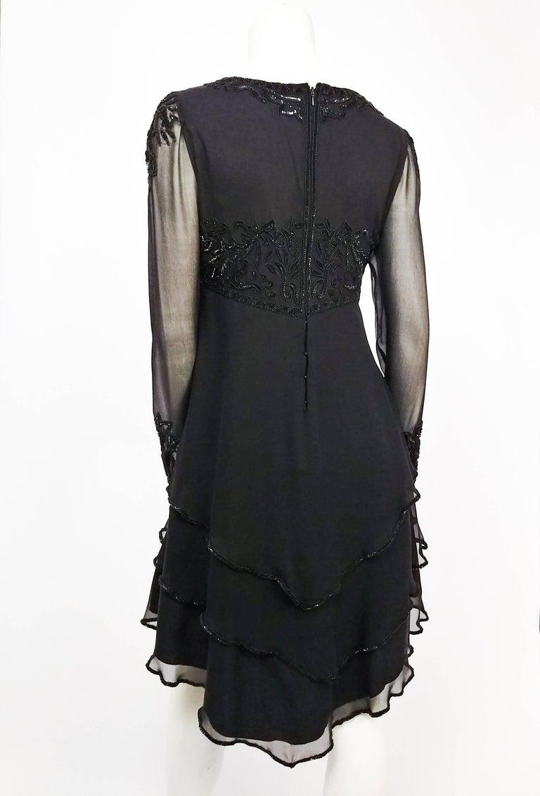 Women's 1960s Lillie Rubin Black Silk Chiffon Beaded Cocktail Dress For Sale