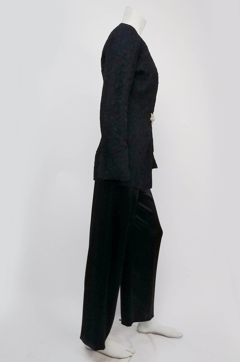 Black 1980s Badgley Mischka Lace Blazer & Satin Trouser Pantsuit For Sale