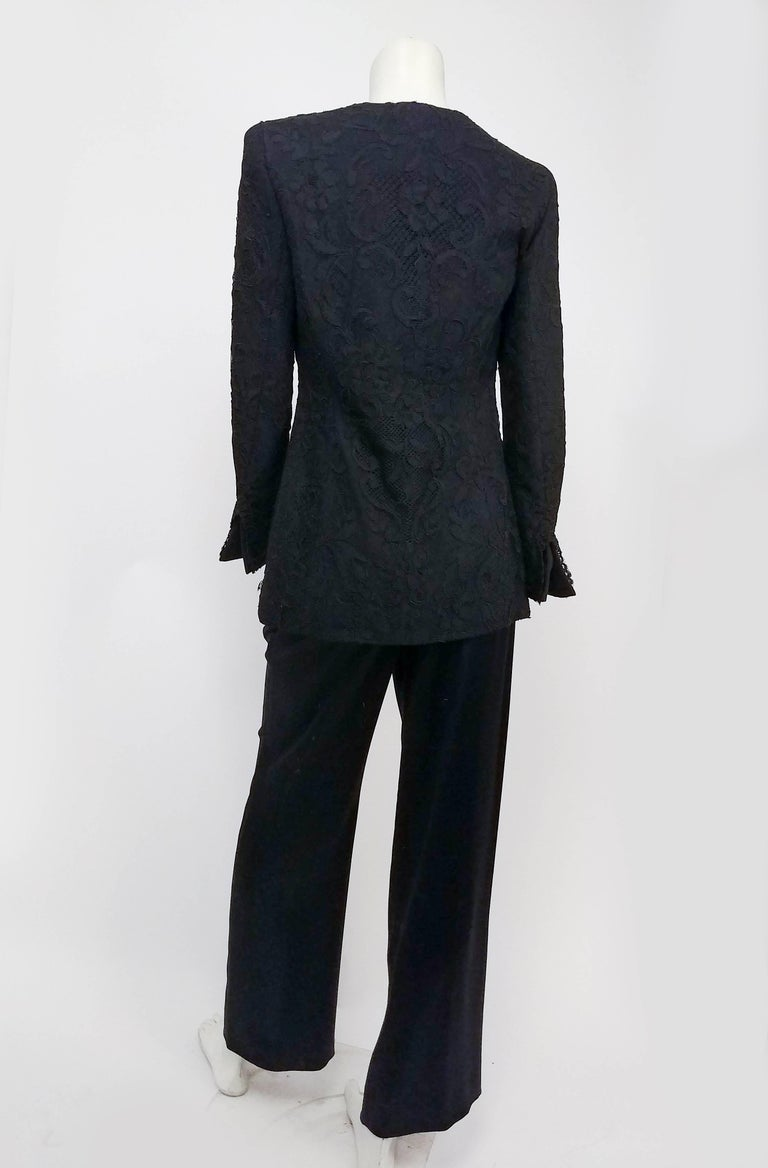 1980s Badgley Mischka Lace Blazer & Satin Trouser Pantsuit In Excellent Condition For Sale In San Francisco, CA
