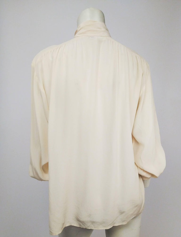 ffca4830acf163 Beige Yves Saint Laurent Rive Gauche Ivory Silk Blouse w/ Pussy Bow For Sale
