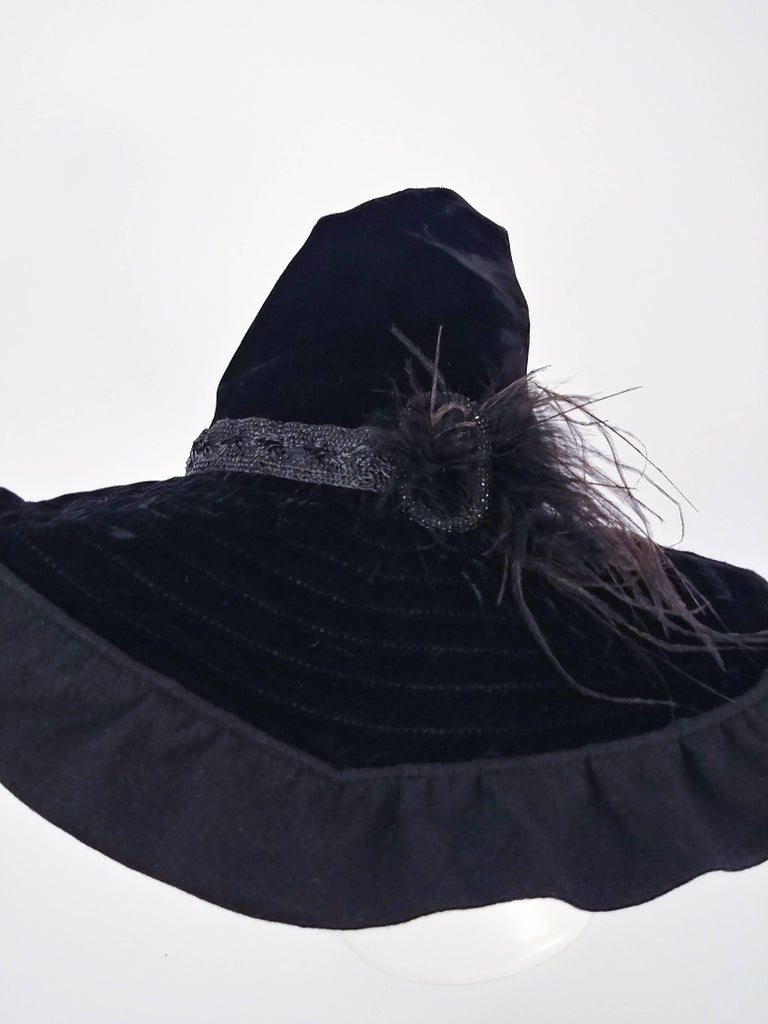 1940s Black Velvet Wide Brim Conical Hat. A fabulous example of 1940s  sculptural hats e1a7afd28b1