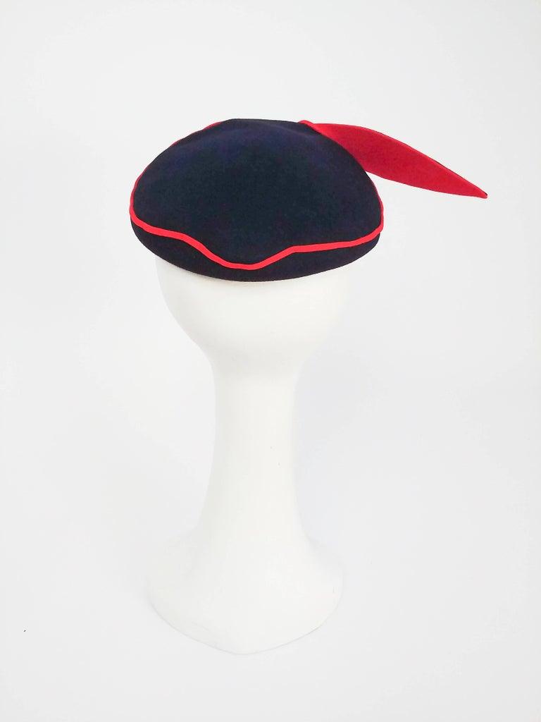 Women's 1950s Navy Blue & Red Faux