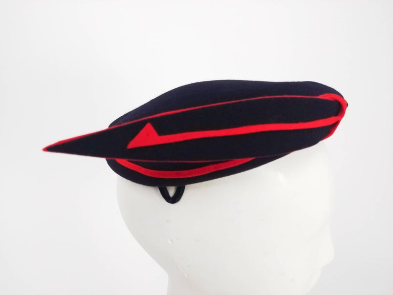 1950s Navy Blue & Red Faux
