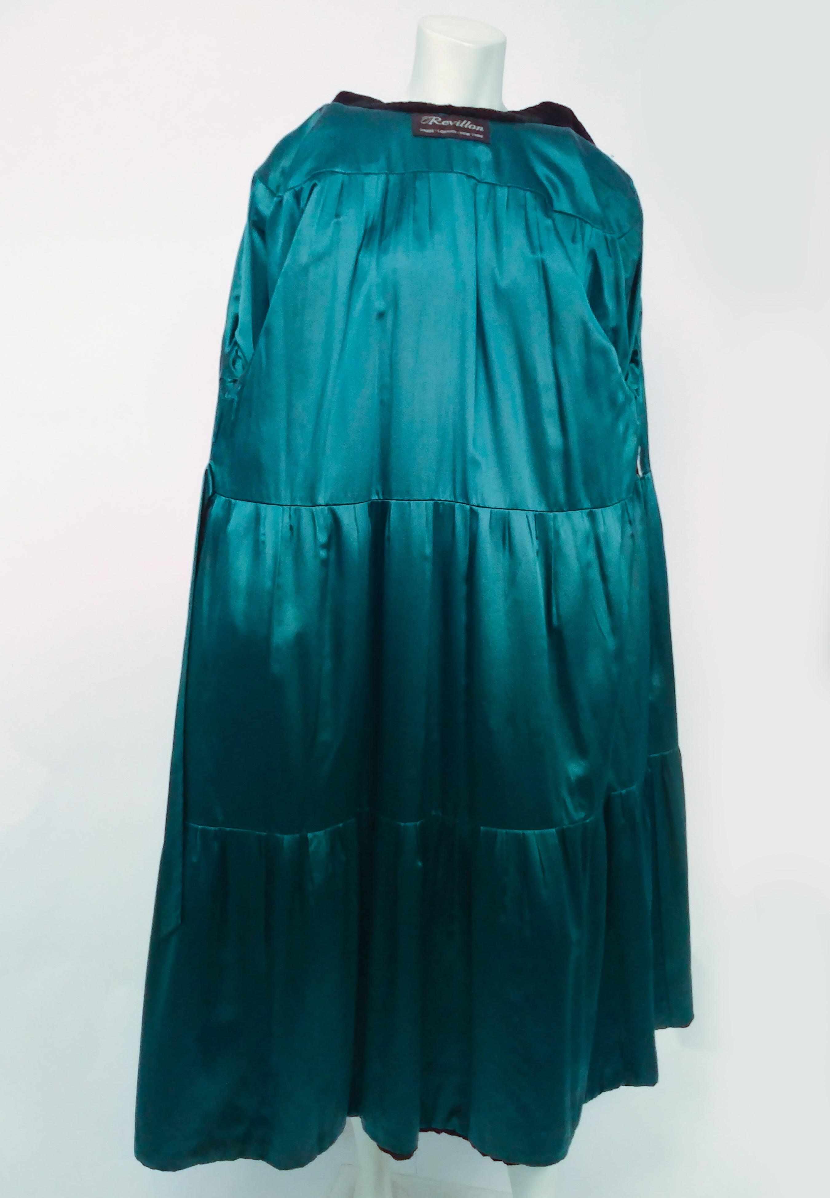 1980s Revillon for Saks Fifth Ave Green Shorn Mink Long Coat For ...