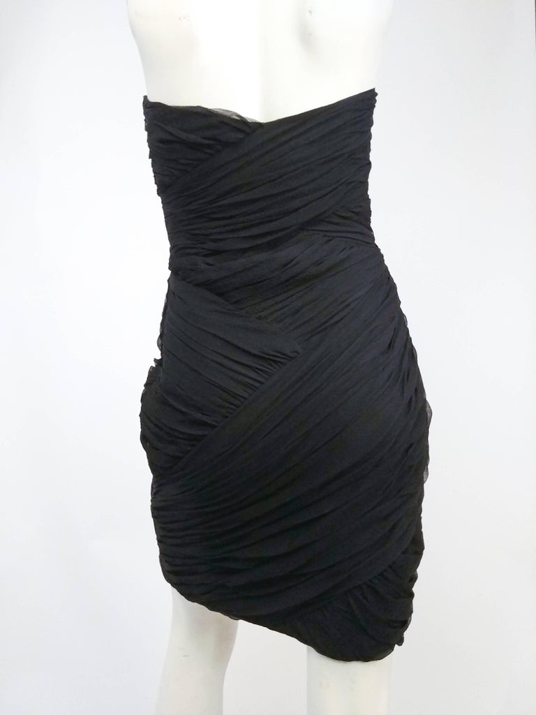 David Fielden Black Strapless Silk Chiffon Cocktail Dress In Excellent Condition For Sale In San Francisco, CA