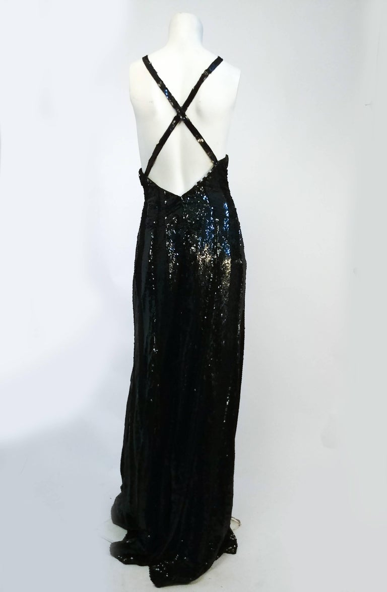 Women's or Men's 1990s Ralph Lauren Black Sequin Gown For Sale