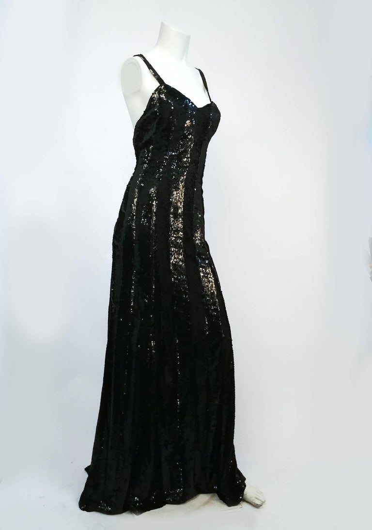 1990s Ralph Lauren Black Sequin Gown In Good Condition For Sale In San Francisco, CA