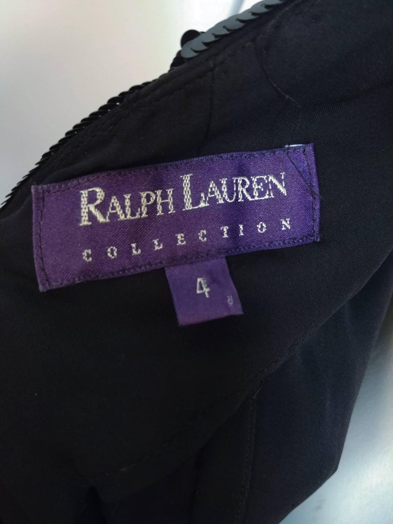 1990s Ralph Lauren Black Sequin Gown For Sale 1