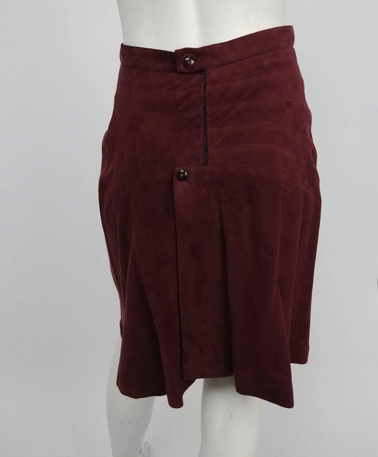 Black 1990s Alaia Brown Vegan Suede Back Pleat Skirt For Sale