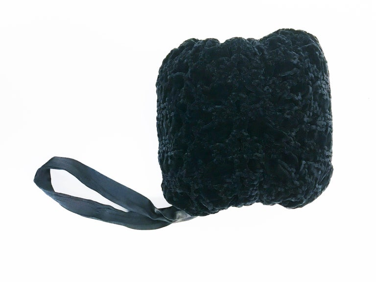 1930s Black Velvet Muff For Sale 1