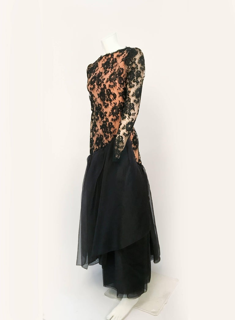Women's 1980s Travilla Black Floral Lace Dress For Sale