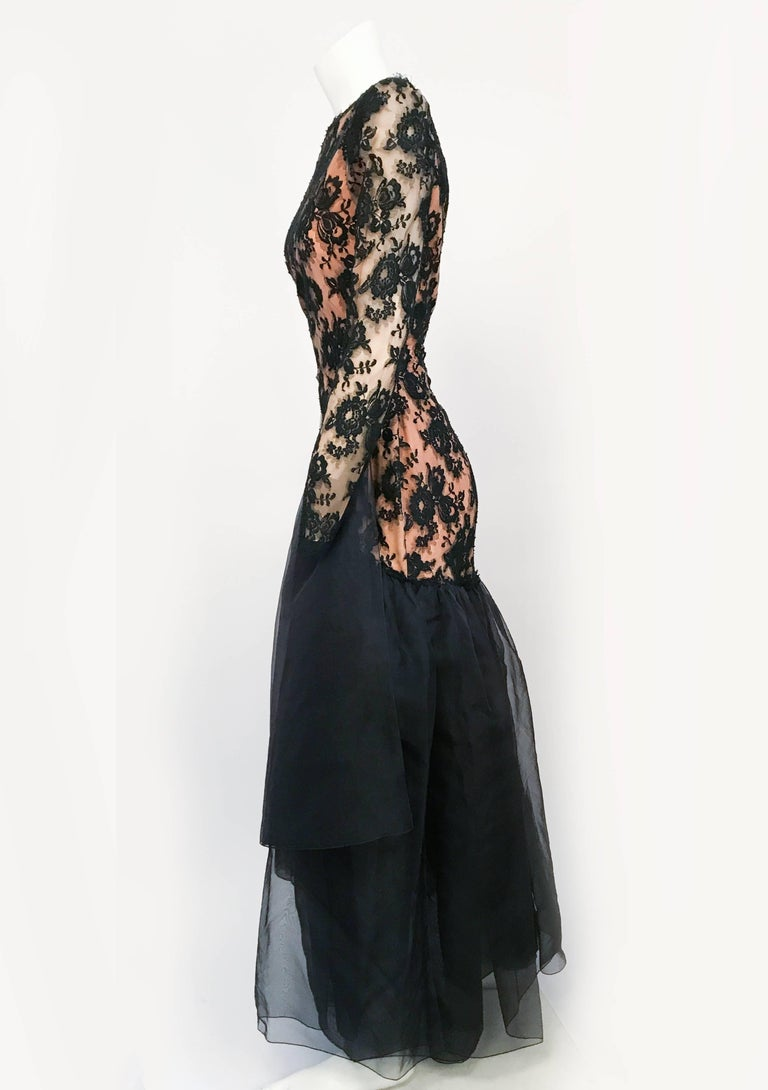 1980s Travilla Black Floral Lace Dress For Sale 1