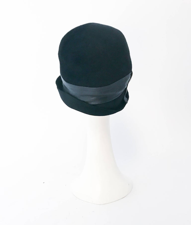 Women's 1960s Mr. John Black Cashmere Felt Hat with Leather Band For Sale