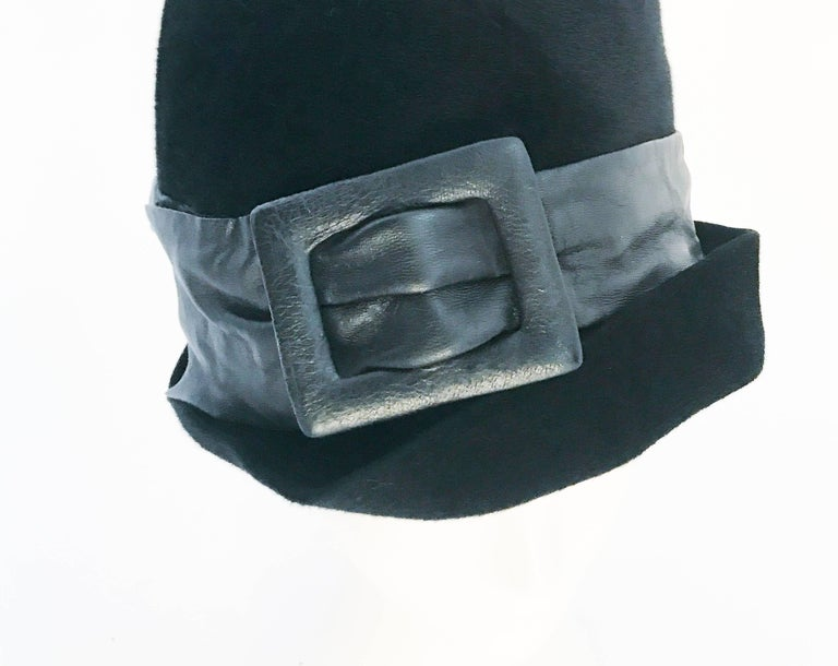 1960s Mr. John Black Cashmere Felt Hat with Leather Band For Sale 2