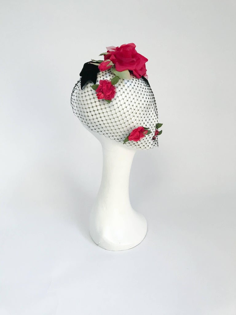 1950s Black Velvet Bow And Silk Flowers With Veil For Sale At 1stdibs