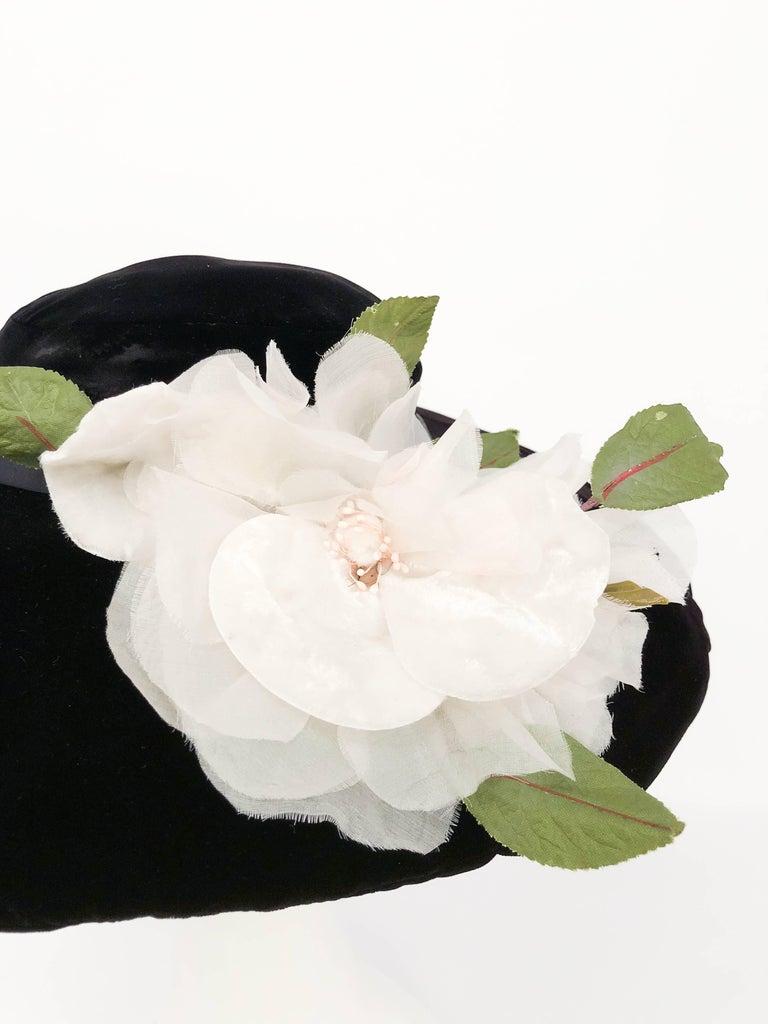 1950s black silk velvet picture hat with white silk flower for sale 1950s black silk velvet picture hat with white silk flower black silk velvet picture hat mightylinksfo