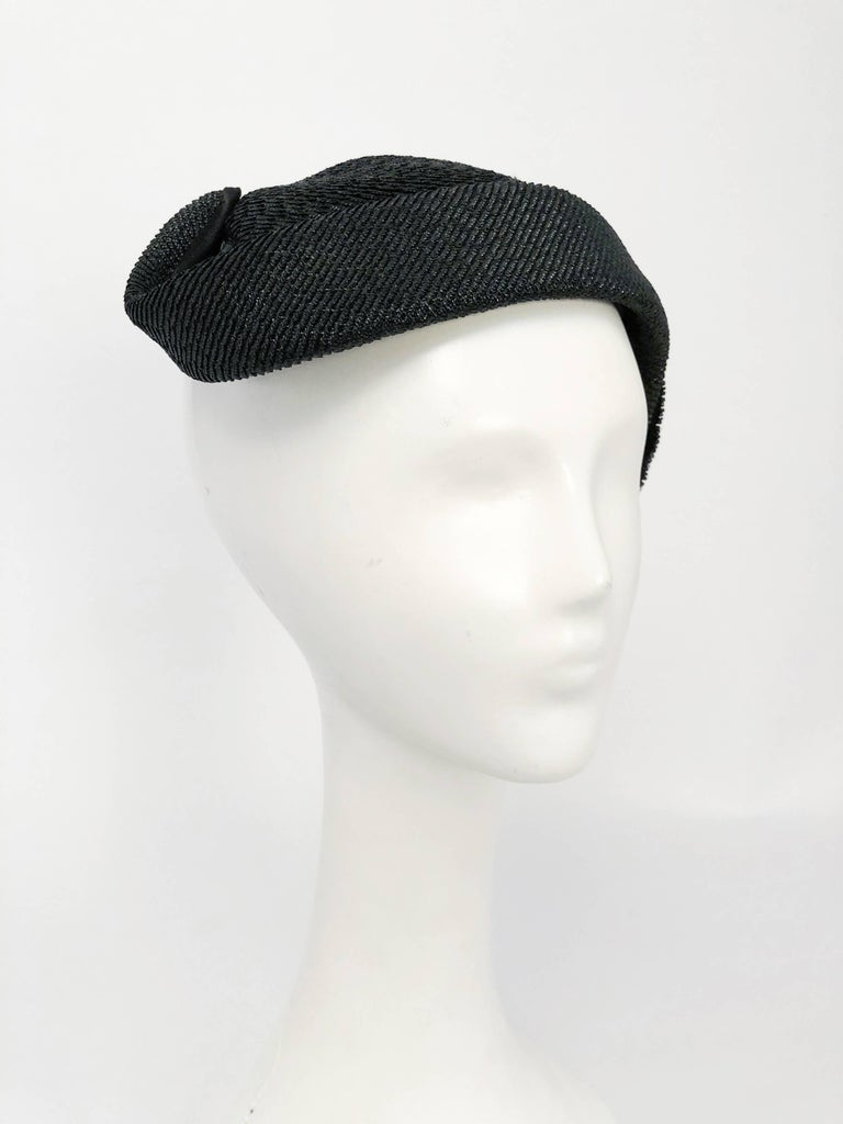 d1a8bca5f 1950s Black Woven Straw Cocktail Hat with Beaded Leaf