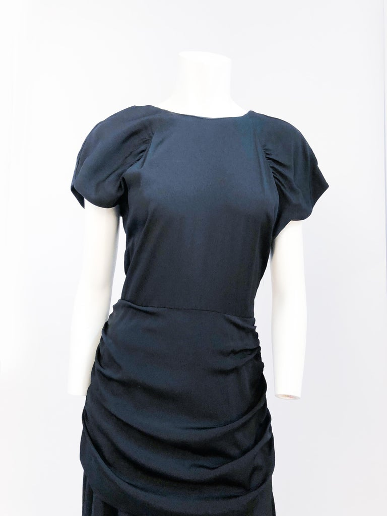 1980's Black Rouched Dress with Double Flounces on the Back In Good Condition For Sale In San Francisco, CA