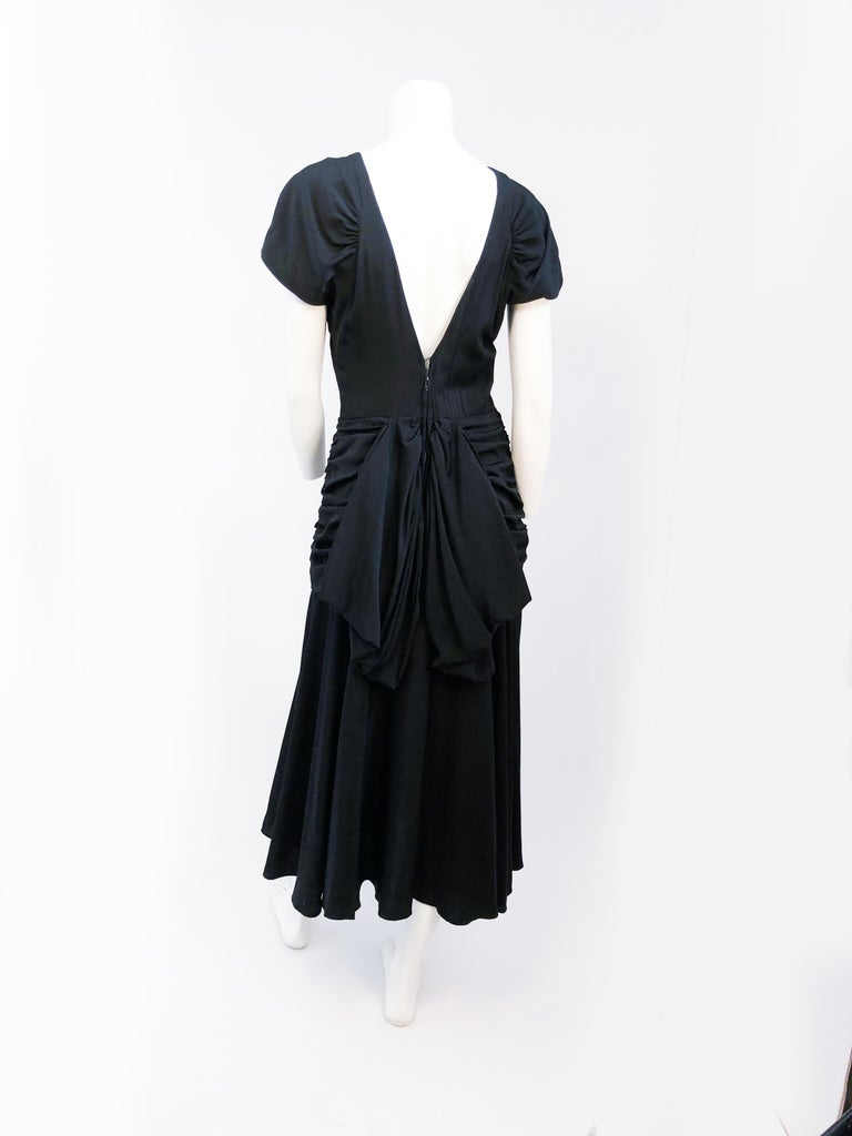 1980's Black Rouched Dress with Double Flounces on the Back For Sale 1