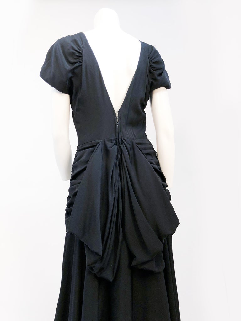 1980's Black Rouched Dress with Double Flounces on the Back For Sale 2