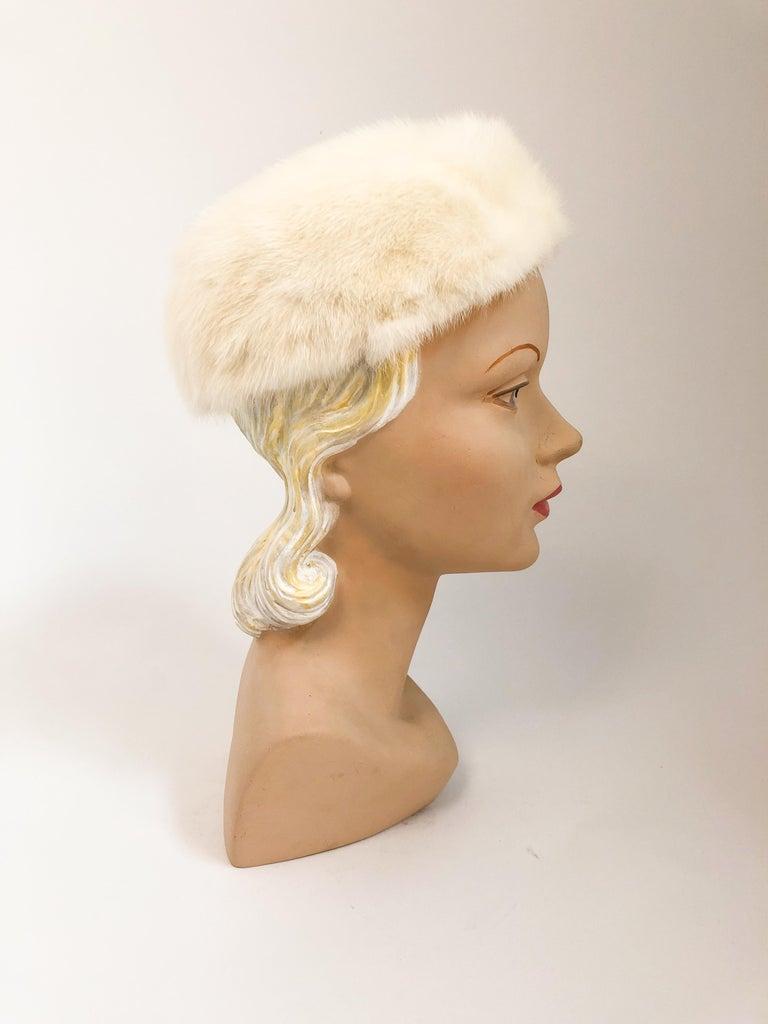 Gray 1960s White I. Magnin Mink Fur Hat For Sale