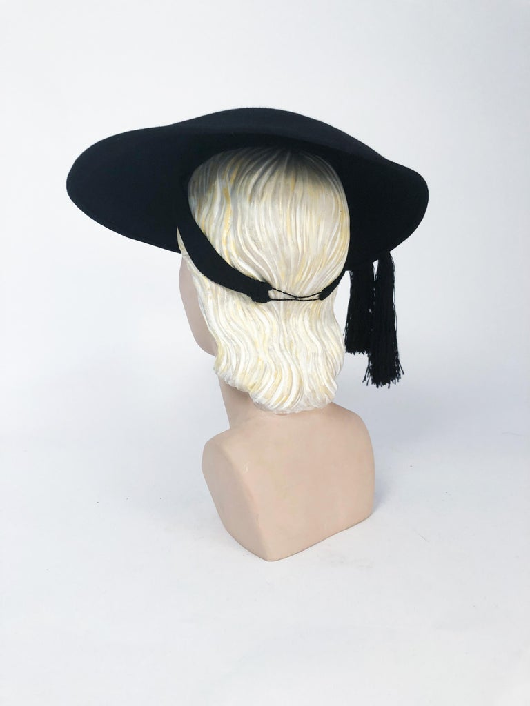 1940s Black Fur Felt Wide-Brimmed Hat With Silk Cord Tassels In Good Condition For Sale In San Francisco, CA