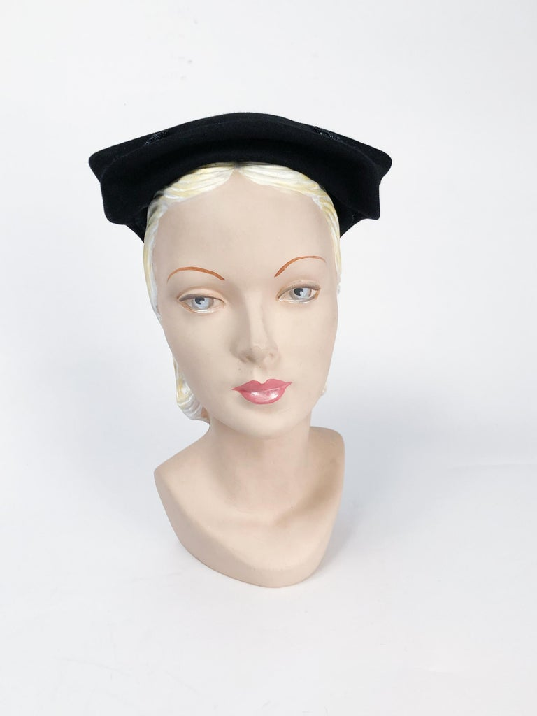 1950s Black Cashmere Sculptured Hat with Beadwork In Good Condition For Sale In San Francisco, CA