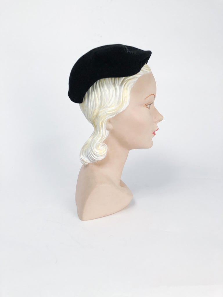 Women's 1950s Black Cashmere Sculptured Hat with Beadwork For Sale