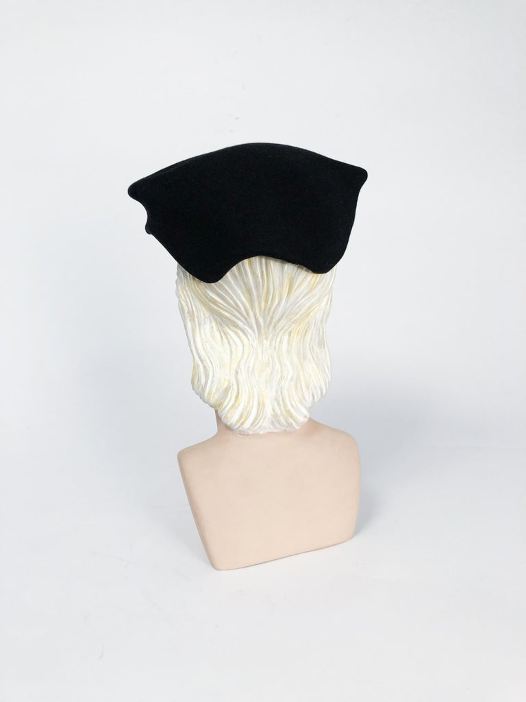 1950s Black Cashmere Sculptured Hat with Beadwork For Sale 1