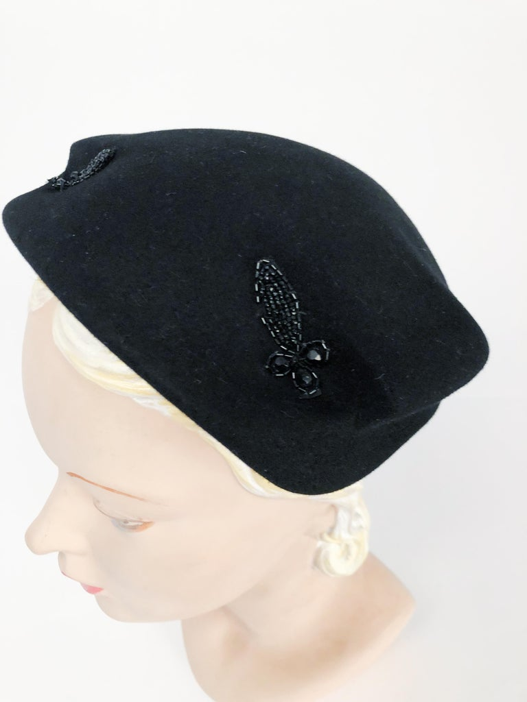 1950s Black Cashmere Sculptured Hat with Beadwork For Sale 2