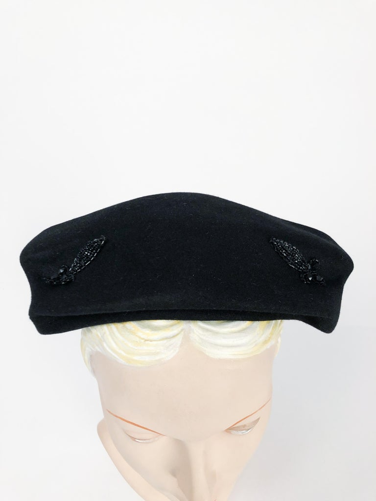 1950s Black Cashmere Sculptured Hat with Beadwork For Sale 3