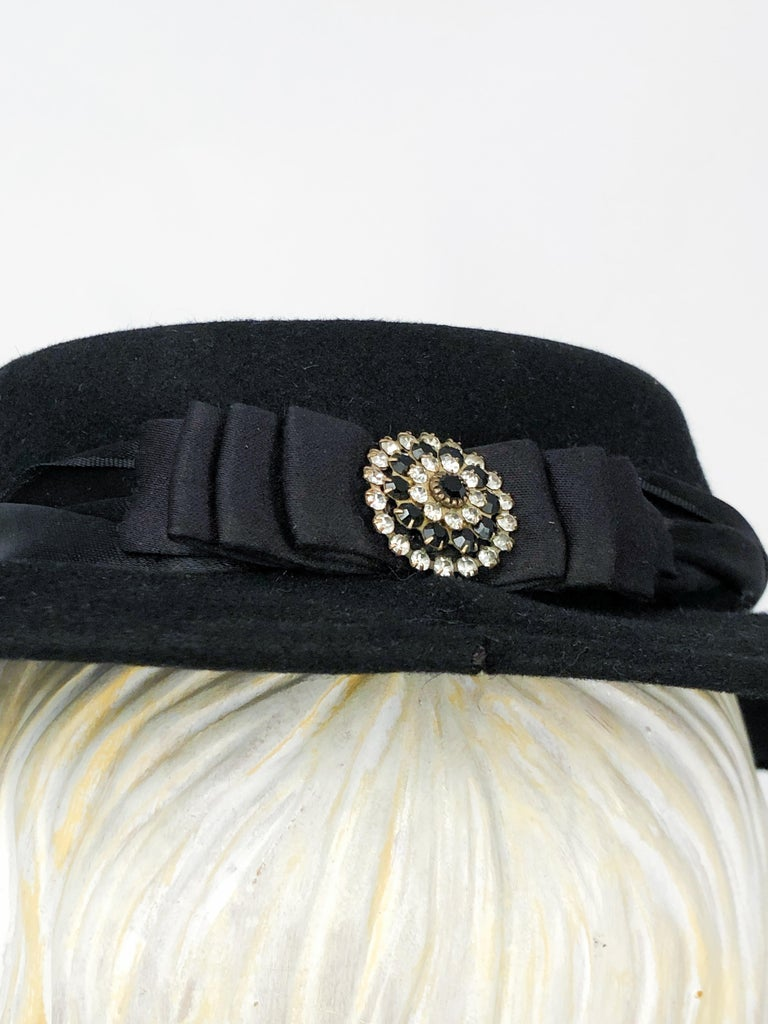 1940s Black Cashmere Hat With Silk Satin Band and Rhinestone Accent For Sale 1
