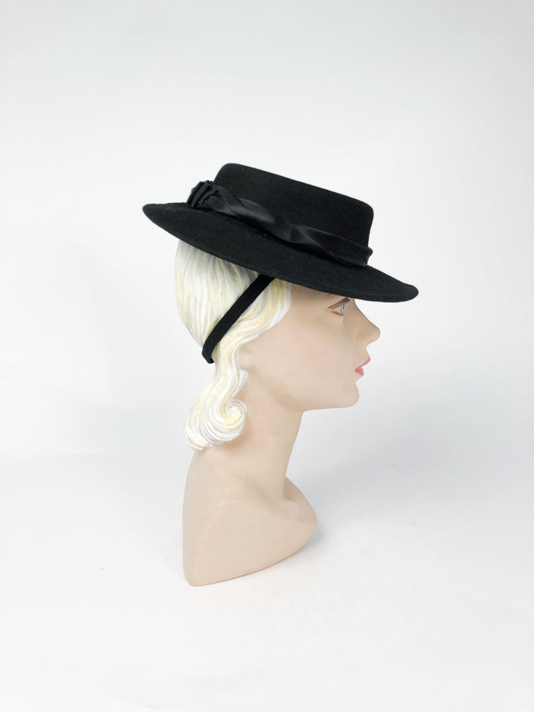 1940s Black Cashmere Hat With Silk Satin Band and Rhinestone Accent For Sale 2