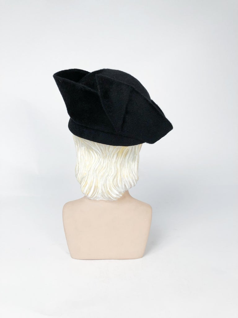 1930s Black Cashmere Felt Pirate Hat with Sterling Silver Accent In Good Condition For Sale In San Francisco, CA
