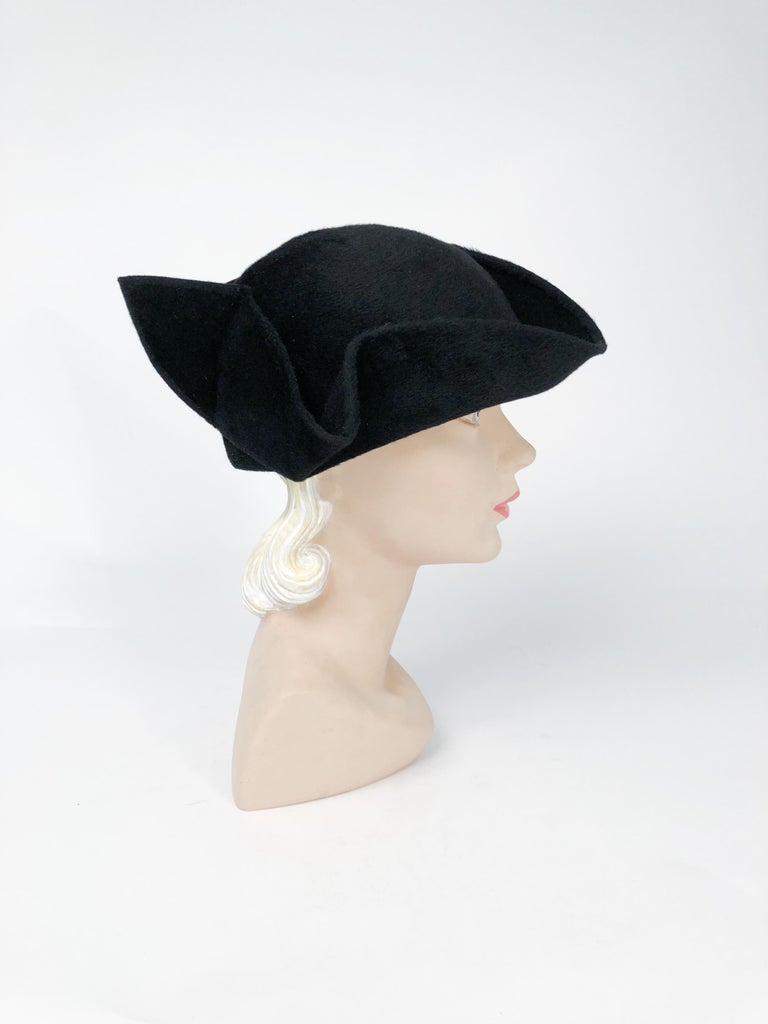 Women's 1930s Black Cashmere Felt Pirate Hat with Sterling Silver Accent For Sale