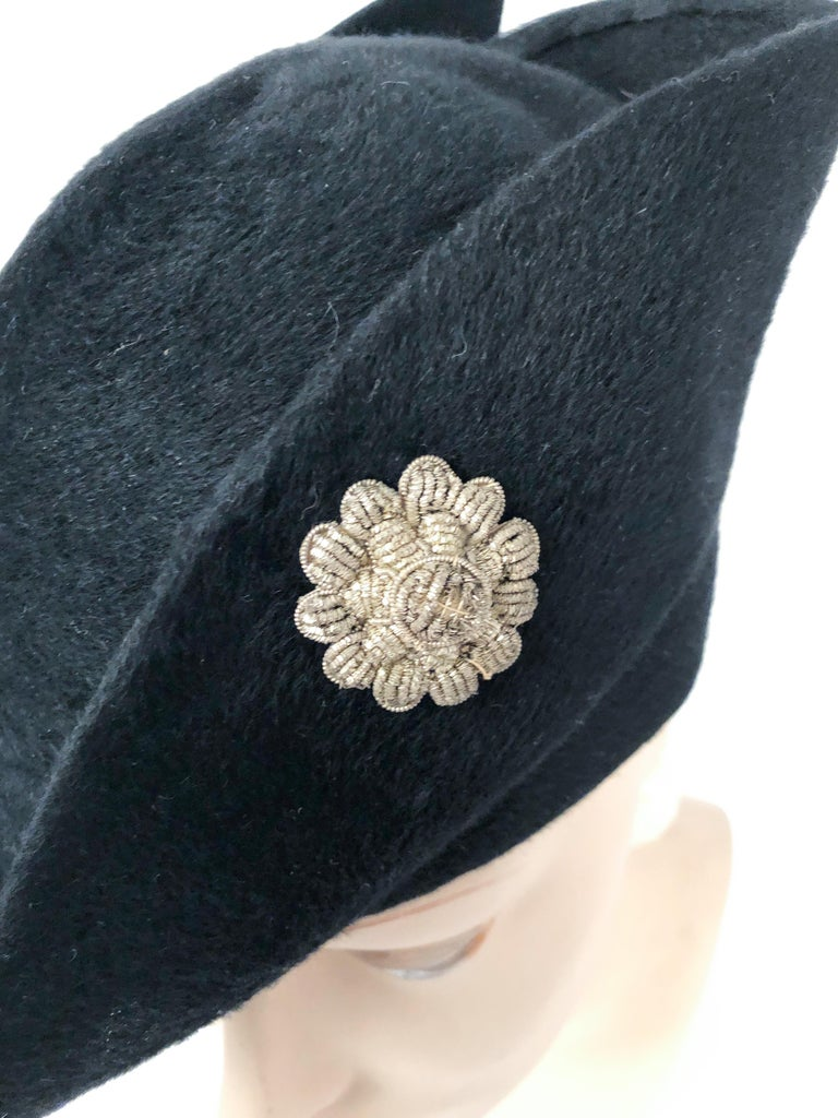 1930s Black Cashmere Felt Pirate Hat with Sterling Silver Accent For Sale 1
